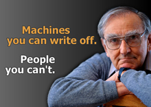 "photo of a senior citizen that say, ""Machines You Can Write off. People You Can't"""
